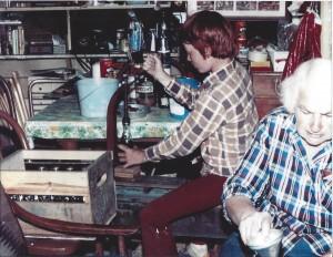 Friend John Kimbler and Dorothy bottling root beer